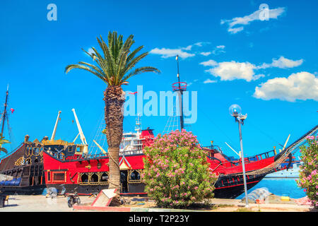 Landscape with old ships for excursions on city embankment in Sousse. Tunisia, North Africa - Stock Photo