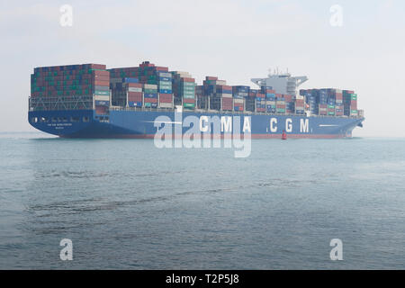 The Container Ship, CMA CGM GEORG FORSTER, Entering A Bank Of Sea Fog As She Departs The Port Of Southampton, UK. 28 March 2019. - Stock Photo