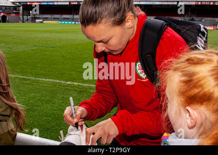 Loren Dykes of Wales trains at Rodney Parade ahead of the Wales v Czech Republic International Friendly. - Stock Photo