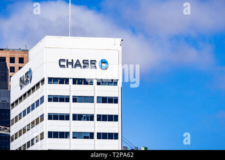 March 19, 2019 San Diego / CA / USA - Chase bank offices in downtown San Diego - Stock Photo