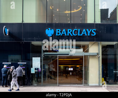 Birmingham, England - March 17 2019:   The Entrance to Barclays Bank branch on High Street - Stock Photo