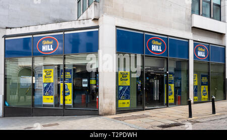 Birmingham, England - March 17 2019:   The front of WIlliam Hill Bookmakers on Bull Street - Stock Photo
