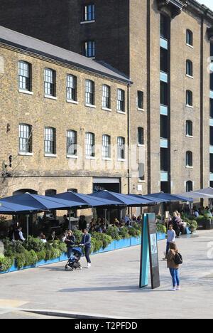 Granary Square Brasserie, in spring sunshine, at Kings Cross, north London, UK - Stock Photo
