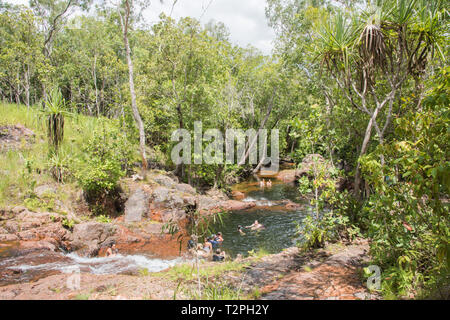 Litchfield, Northern Territory, Australia-December 24,2017: People swimming at Buley Rockholes in Litchfield National Park in remote NT, Australia - Stock Photo