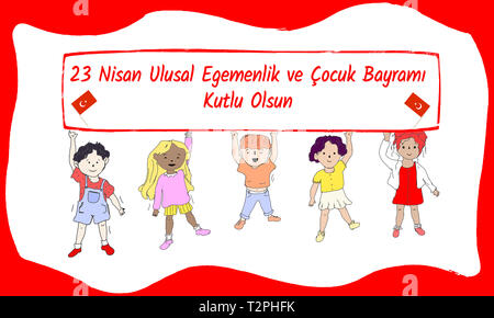 Turkish 23 April  National Sovereignty and Children's Day - Stock Photo