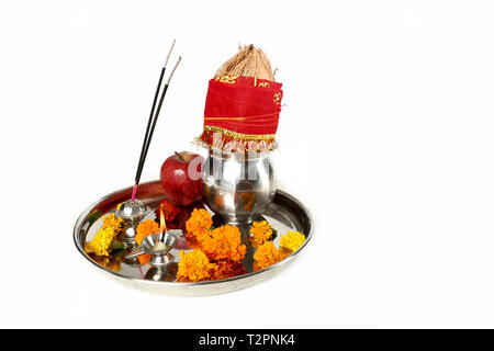 Picture of beautiful Decorated Pooja Thali for festival. Isolated on the white background. - Stock Photo