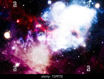 Stars of a planet and galaxy in a free space. Elements of this image furnished by NASA . - Stock Photo