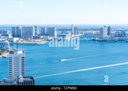 Asia business concept for real estate and corporate construction - panoramic urban city skyline aerial view under blue sky in hamamatsucho, tokyo, Jap - Stock Photo