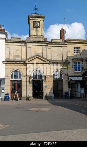 Devizes, Wiltshire, England, UK. March 2019.  The old Market Hall on the market square in Devizes. - Stock Photo