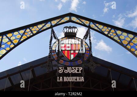 Mercat de La Boqueria, old market halls, also Mercat de Sant Josep, La Rambla, Barcelona, Catalonia, Spain, Europe - Stock Photo