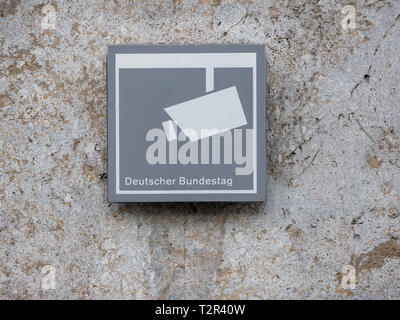 BERLIN, GERMANY - MARCH 31, 2019: Surveillance Concept: Monitoring Sign At Deutscher Bundestag, German Federal Parliament In Berlin, Germany - Stock Photo