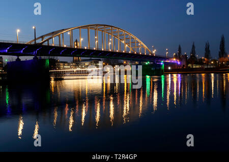 John Frost Bridge over Lower Rhine at night - Stock Photo