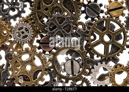 Set of metal gears and cogs gear isolated on a white background. Macro. - Stock Photo