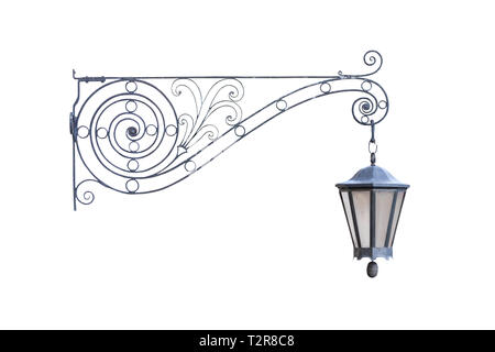 Old vintage decorative hanging street lamp isolated on white background, real picture, front view of one cut out object - Stock Photo