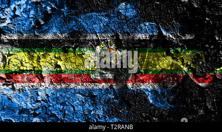 East African Community smoky mystical flag on the old dirty wall background - Stock Photo