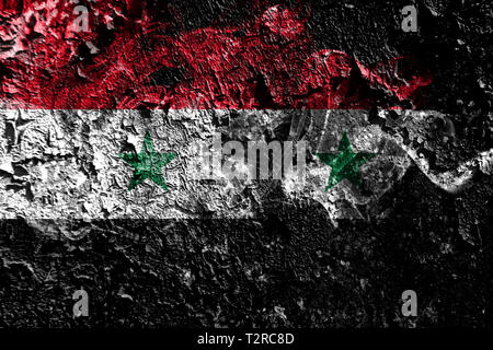 Syria smoky mystical flag on the old dirty wall background - Stock Photo