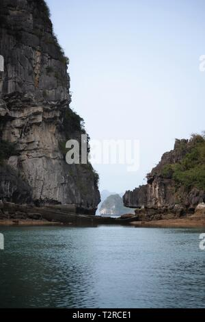 Beautiful Halong Bay, Vietnam landscape view from cruise boat - Stock Photo
