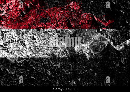 Yemen smoky mystical flag on the old dirty wall background - Stock Photo