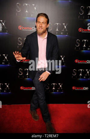 Actor Charlie Hunnam arrives at the STXfilms presentation red carpet for CinemaCon's 'The State Of The Industry: Past, Present and Future' at The Colosseum at Caesars Palace on April 2, 2019 in Las Vegas, Nevada. - Stock Photo
