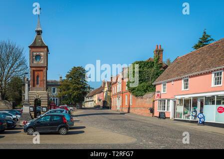 Bildeston Suffolk UK, view of Market Place in the centre of the village of Bildeston, Babergh district, Suffolk, England, UK - Stock Photo