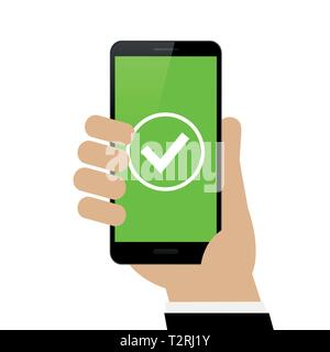 male hand is holding a black smartphone with green check symbol isolated on white background vector illustration EPS10 - Stock Photo