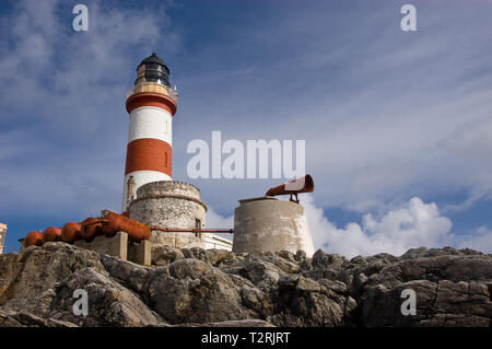Eilean Glas Lighthouse on the island of Scalpay in The Outer Hebrides - Stock Photo