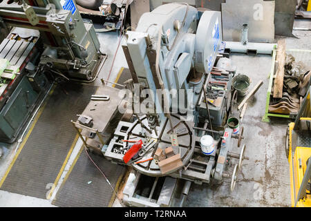 National Railway Museum, York, North Yorkshire. A view from above of a jig boring machine in the engineering department. - Stock Photo