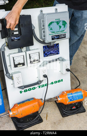 Miami Florida Bayfront Park Miami Goin' Green eco-friendly green event exhibitor energy management surge protection conservation - Stock Photo