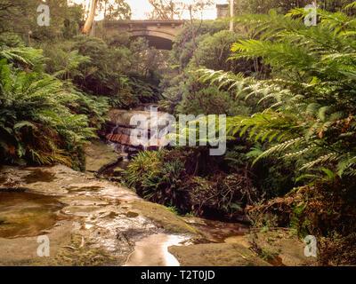 Road bridge over Leura Falls, New South Wales - Stock Photo