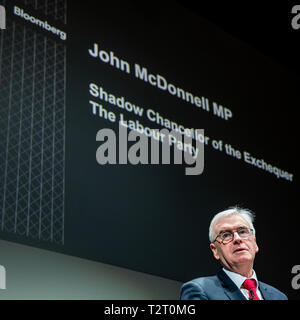 Shadow Chancellor of the Exchequer, John McDonnell, gives a speech to businesses leaders at the Bloomberg European headquarters in London. - Stock Photo