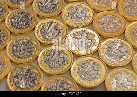 UK Pound Sterling coins. - Stock Photo
