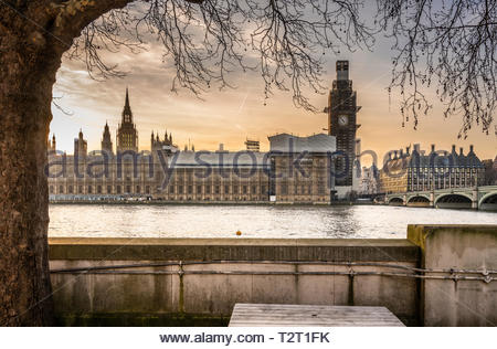 The Palace of Westminster (UK Parliament) in golden light before sunset on a beautiful warm day in February 2019 - Stock Photo