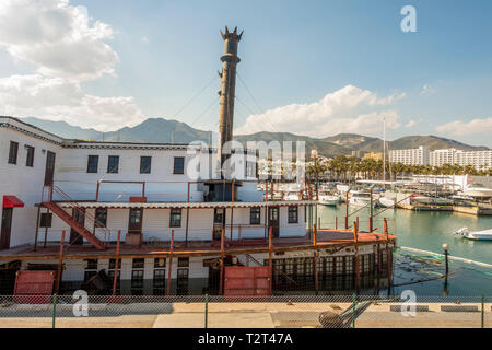 The Mississippi Steam Boat 'Willow' half sunken, tied up at the Marina Benalmádena Puerto. Port. Andalusia, Spain. - Stock Photo