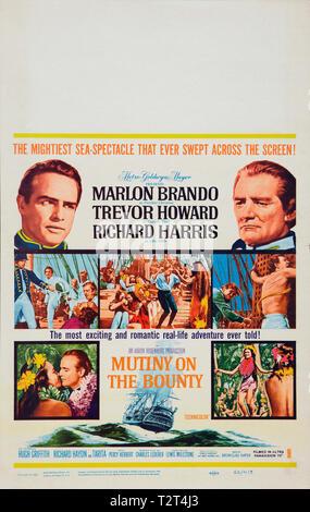 LES REVOLTES DU BOUNTY MUTINY ON THE BOUNTY 1962 de Lewis Milestone affiche window card americaine histoire vraie; aventure; true story; adventure; ;  - Stock Photo