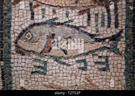 Roman mosaic. Fish. 3rd cent. Villa of Xauxelles. Archaeology Museum of Catalonia. Barcelona. Spain. - Stock Photo