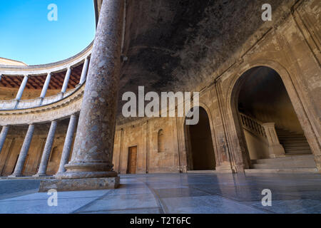 Courtyard in the Palace of Charles V, Alhambra - Stock Photo