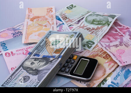 Calculator, American dollar banknotes and Turksh Lira banknotes side by side on white background - Stock Photo