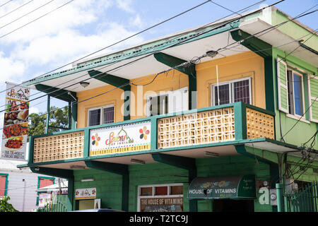 Colourful building in Saint John's, Capital of Antigua and Barbuda - Stock Photo