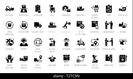 Isolated on white background fast delivery logistic icons big set in flat style. Vector icons for web, infographic or print. - Stock Photo