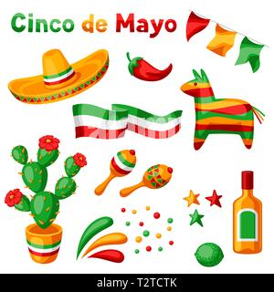 Mexican Cinco de Mayo set of objects. National holiday items. - Stock Photo