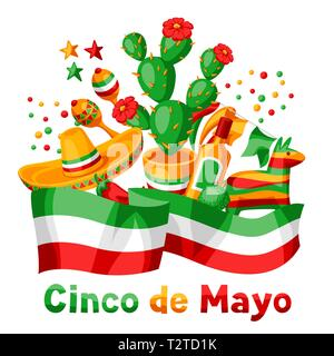 Mexican Cinco de Mayo greeting card. National holiday items. - Stock Photo