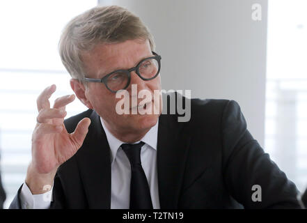Berlin, Germany. 03rd Apr, 2019. Ronald Pofalla, Chief Infrastructure Officer of Deutsche Bahn, speaks in an interview with the German Press Agency. Credit: Wolfgang Kumm/dpa/Alamy Live News - Stock Photo