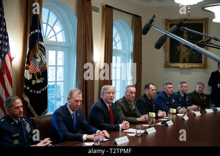 Washington, DC, USA. 03rd Apr, 2019. US President Donald J. Trump delivers remarks during a briefing by senior military leaders in the Cabinet Room of the White House in Washington, DC, USA, 03 April 2019. Following the briefing President Trump will host a dinner for the officials. Credit: Shawn Thew/Pool via CNP | usage worldwide Credit: dpa/Alamy Live News - Stock Photo