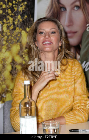 Gisele Bündchen during her visit of Thalia Book Store on April 3, 2019 in Hamburg, Germany. - Stock Photo