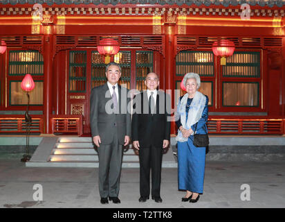 Beijing, China. 4th Apr, 2019. Chinese State Councilor and Foreign Minister Wang Yi (L) meets with Cambodian King Norodom Sihamoni (C) and Queen Mother Norodom Monineath Sihanouk in Beijing, capital of China, April 4, 2019. Credit: Ding Lin/Xinhua/Alamy Live News - Stock Photo