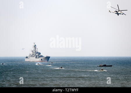 Russia. 04th Apr, 2019. KALININGRAD REGION, RUSSIA - APRIL 4, 2019: The Korolev large landing ship takes part in a military exercise in amphibious landing on an unimproved shore by the Russian Baltic Fleet's amphibious assault forces at the Khmelevka range. Over 20 surface vessels of the Russian Baltic Fleet, about 20 aircraft of the Russian Naval Aviation, and over 40 units of military hardware of Russia's Coastal Troops take part in the training. Vitaly Nevar/TASS Credit: ITAR-TASS News Agency/Alamy Live News - Stock Photo