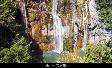 Part of the large waterfall, Plitvice Lakes in Croatia, National Park - Stock Photo