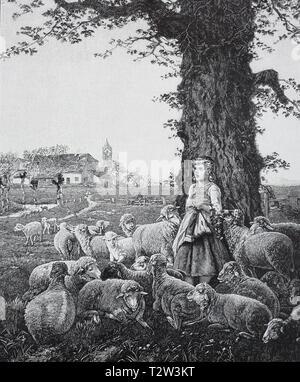 Spring song, painted by Fritz Beinke, a young shepherdess from whom Schafherde surround stands in a tree and sings and, besides, knits, Frühlingslied, gemalt von Fritz Beinke, eine junge Hirtin, von der Schafherde umgeben, steht an einem Baum und singt und strickt dabei - Stock Photo