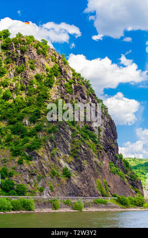 Beautiful view of the Lorelei (German: Loreley), a steep slate rock on the Rhine riverbank in the Rhine Gorge, a UNESCO World Heritage Site, at... - Stock Photo