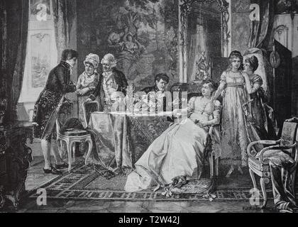 The suitor, the new bridegroom is introduced in the circle of the family, Der Freier, der neue Bräutigam wird in den Kreis der Familie eingeführt - Stock Photo